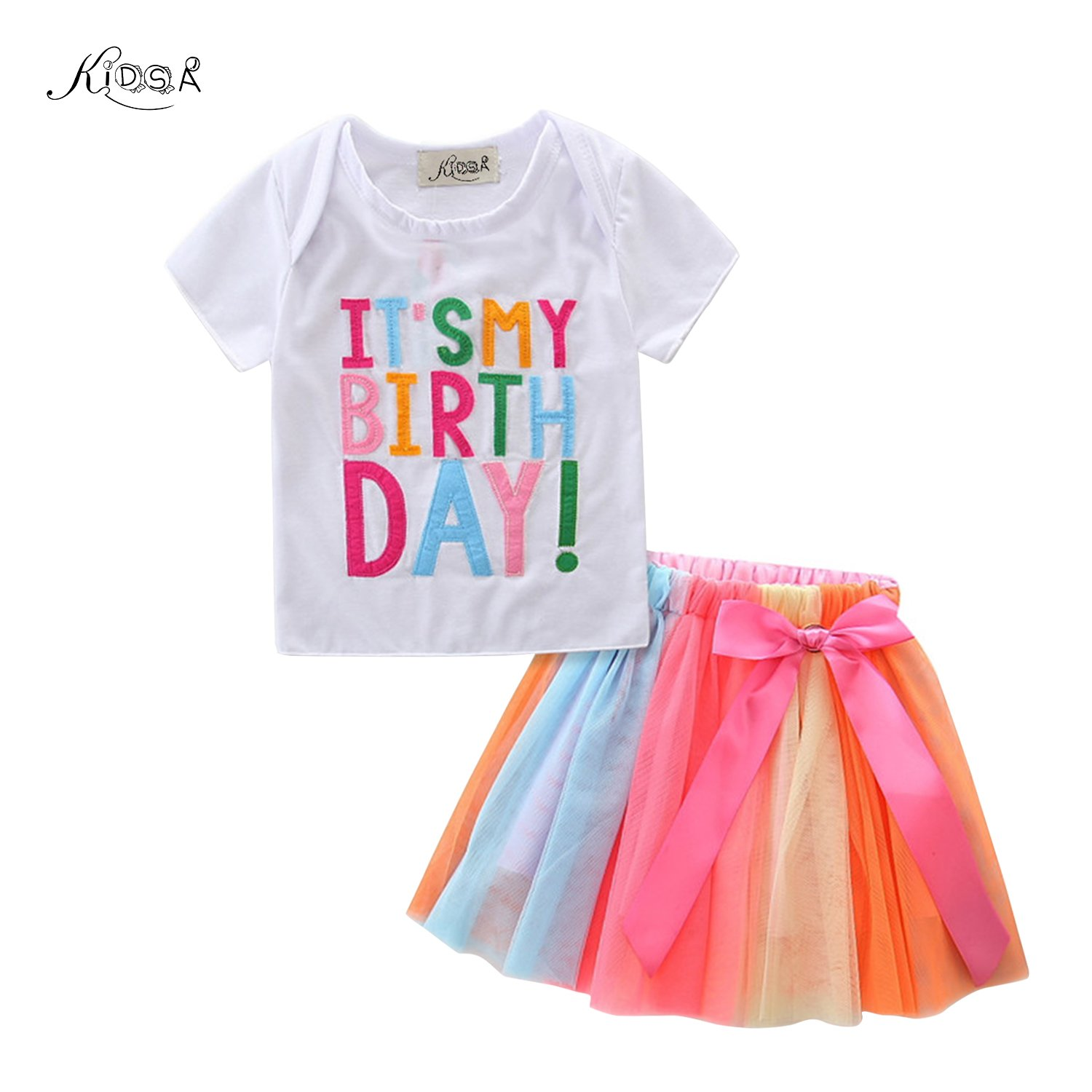 Kidsa 1-5T Baby Little Girls T-shirt + Rainbow Skirt Birthday Gift Outfits Set