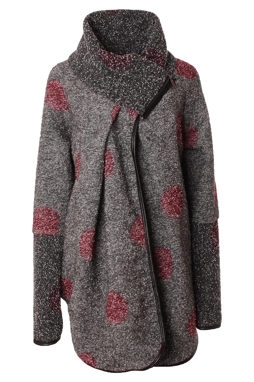 Wollmantel Wintermantel Elegant Dots Punkte Muster Oversize Style