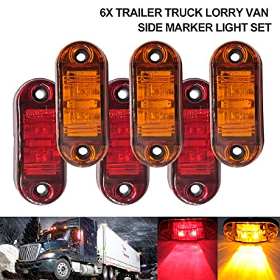 "6Pcs RV Marker Lights, Trailer Truck Led Side Marker Lights, 12V 24V Waterproof 67 Universal Fender Light Boat Marine Led Courtesy Lights Interior Lamps (2.5"", 3Red+3Amber): Automotive"