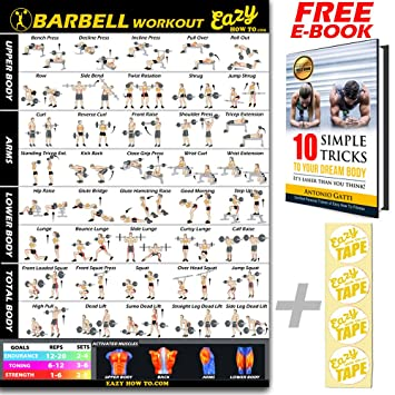 Barbell Weight Lifting Bar Exercise Workout Banner Poster Big 51 X