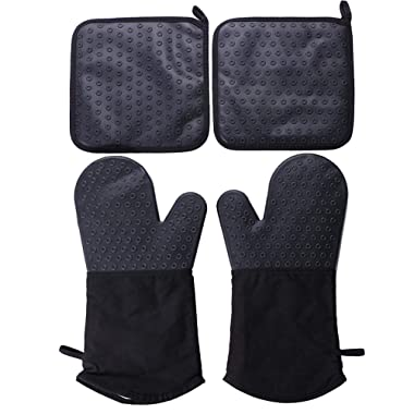 Webake Oven Mitts and Pot Holders Set of 4, 2 pcs Silicone Baking Oven Gloves and 2 pcs Silicone Pot Holders Set for Finger Hand Wrist Protection