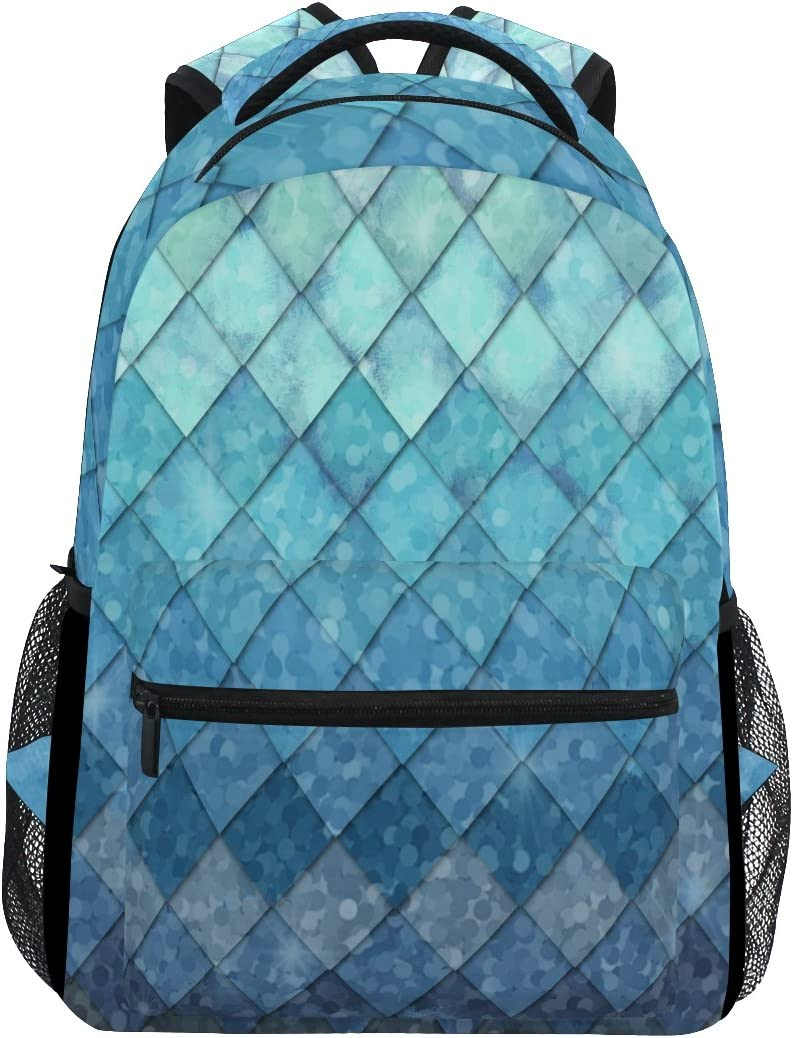 ZOEO Girls Backpacks Blue Teal Mermaid Scales Kids School Bookbags Travel Laptop Daypack Bag Purse for Teens Women