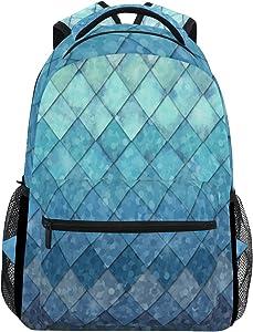 ZOEO Girls Backpacks Blue Teal Mermaid Scales Kids School Bookbags Travel Laptop Daypack Bag Purse for Teens Women