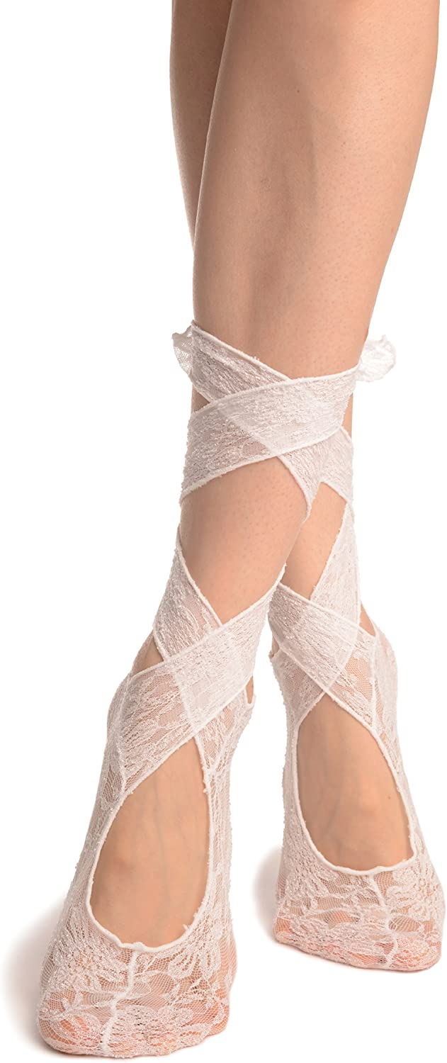 White Stretch Lace Ballet Pointe Footies SS002229