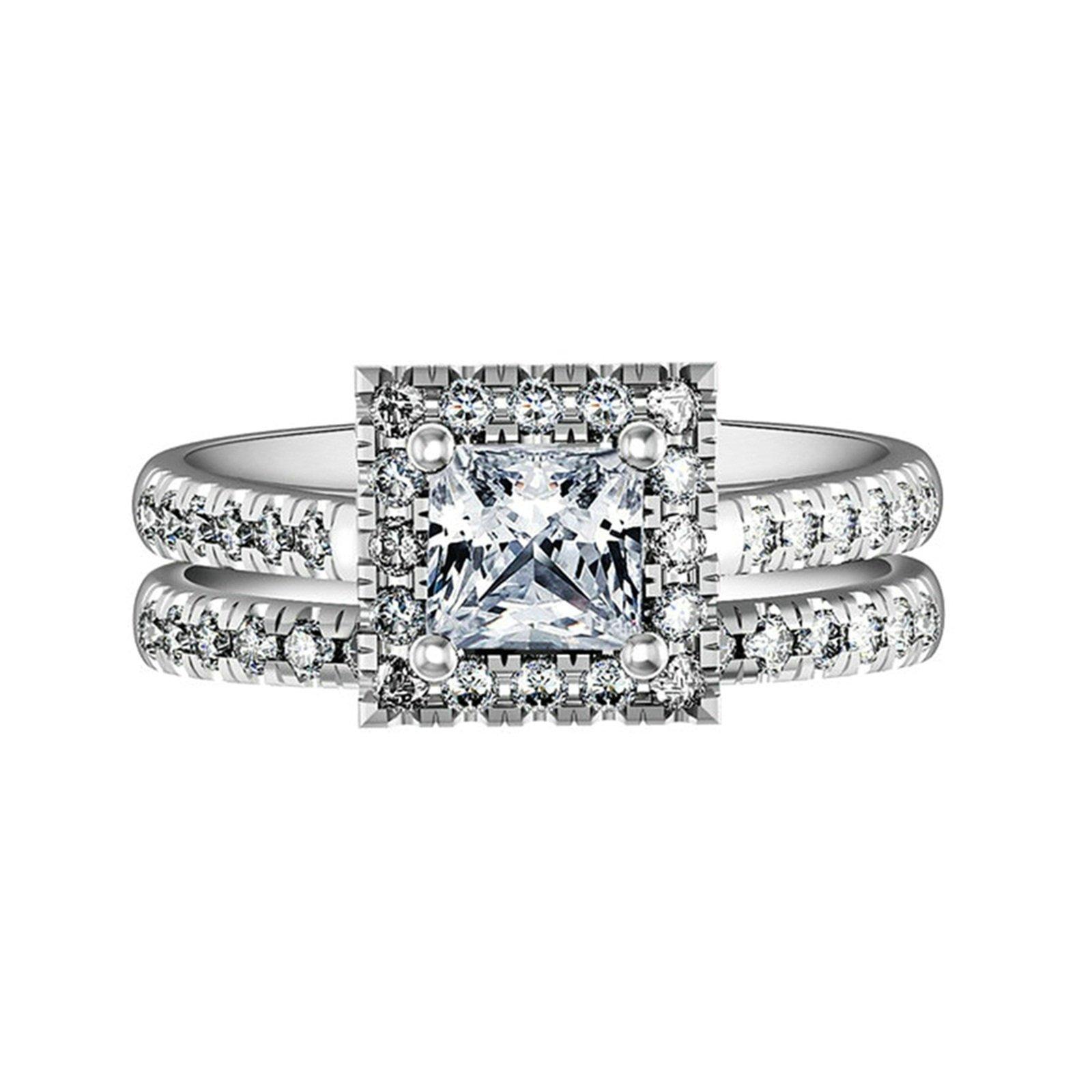 Beydodo Engagement Ring Zirconia 4-prong Setting Princess & Round Cut Crystal Size 9 Anniversary Gift