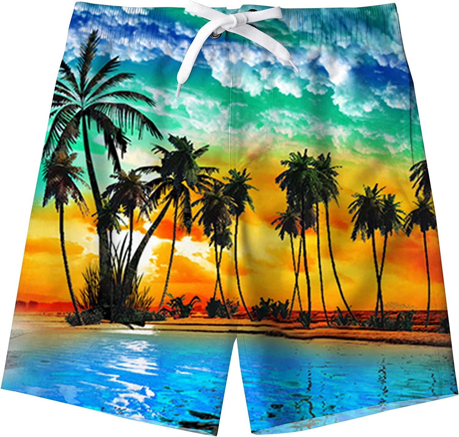 uideazone Boys Teens Swim Trunks Quick Dry Waterproof Surfing Board Shorts Drawstring Elastic Waist with Mesh Lining 5-14T: Clothing