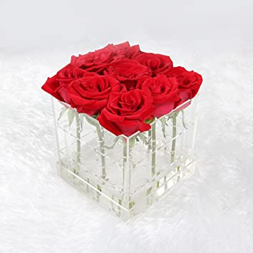 MultiBey Clear Acrylic Rose Flower Box Makeup Organizer Cosmetic Tools Holder Wedding Flower Gift Box ( & Amazon.com: MultiBey Clear Acrylic Rose Flower Box Makeup ... Aboutintivar.Com