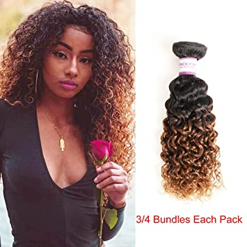 Amazon Com Racily Hair Ombre Malaysian Curly Hair Extension 3 Pcs