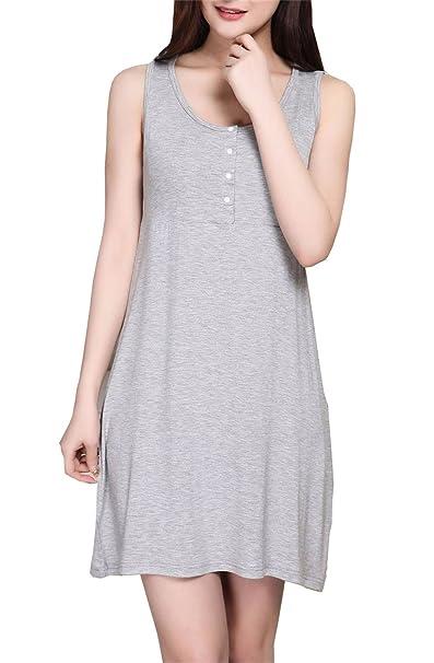 Tayaho MIni Vestido Para Embarazadas Mujer Vestido Con Botones Lactancia Senora Vestidos De Verano Sin Mangas