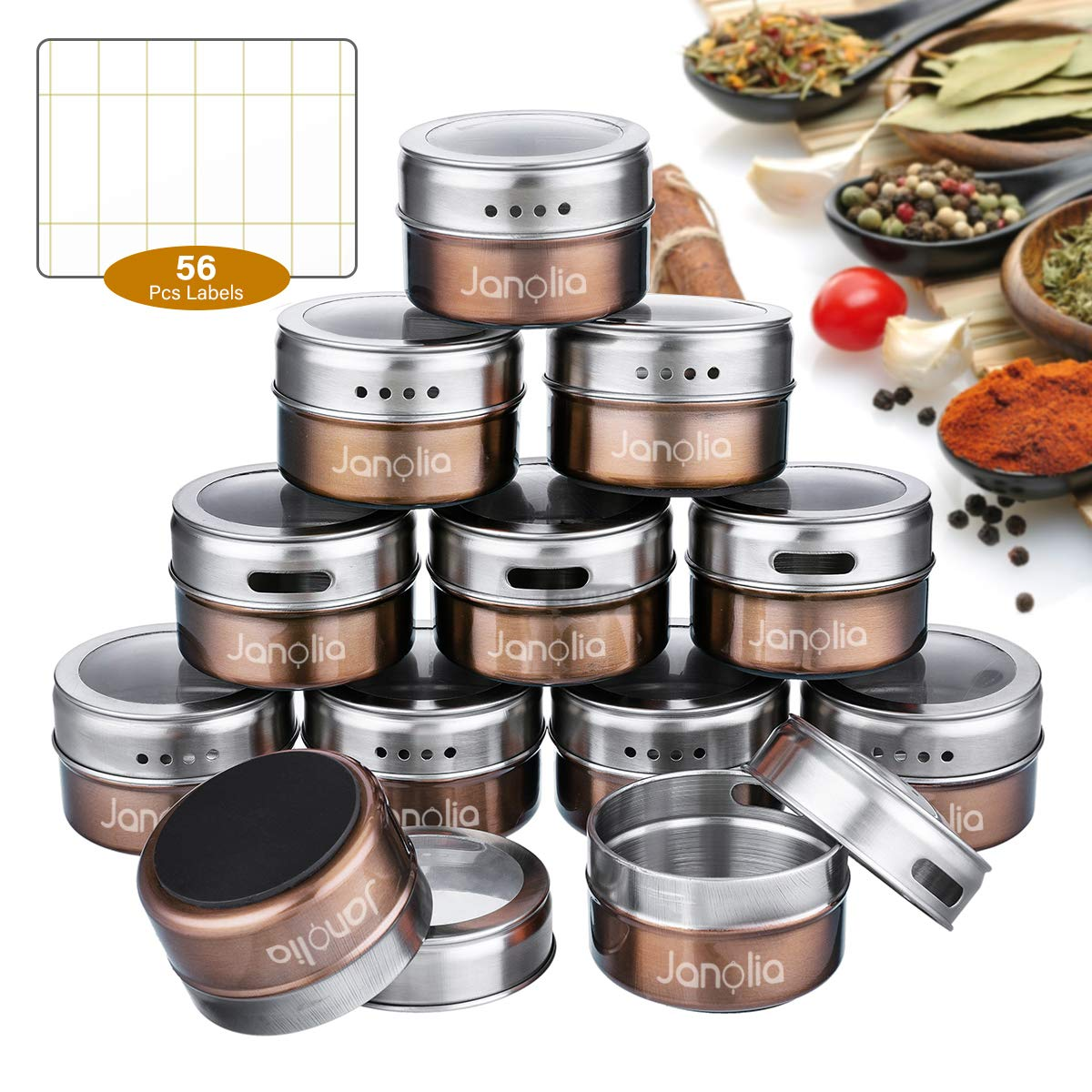 Set of 12 Stainless Steel Magnetic Spice Containers Janolia Spice Jars Round Spice Bottles with Twist Top for Salt Pepper Brown with See-through Screen