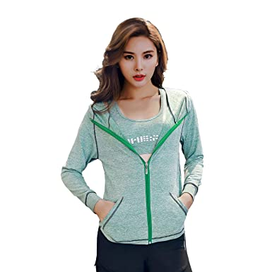 e338d9667 LITTLEPIG Breathable Yoga Jacket for Women Athletic Jacket Hoodie ...