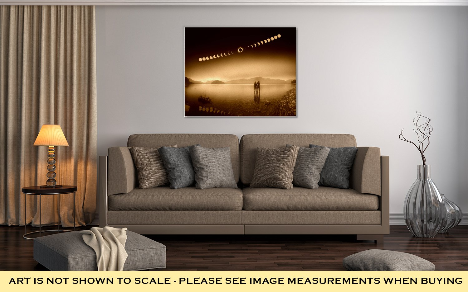 Ashley Canvas Woman and Girl Standing in Lake Watching Solar Eclipse, Wall Art Home Decor, Ready to Hang, Sepia, 16x20, AG6389623
