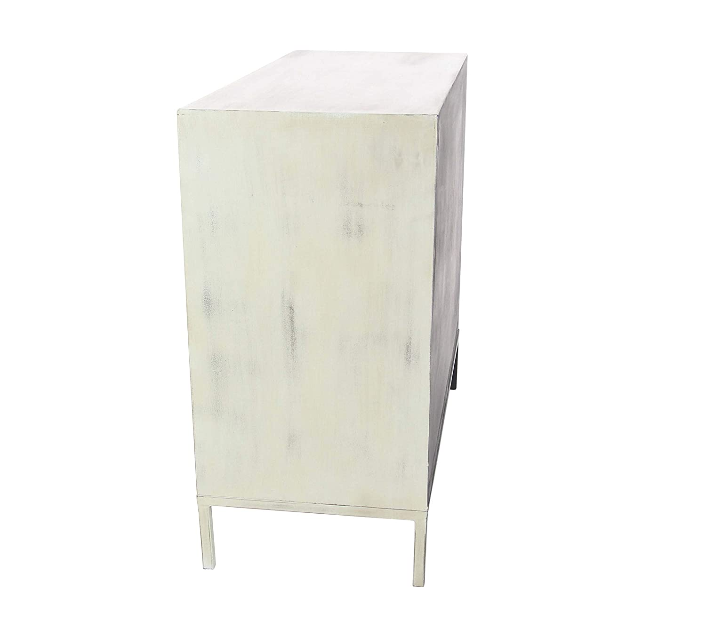 Deco 79 56690 Mirrored Wooden Chest 32 x 35 White//Reflective