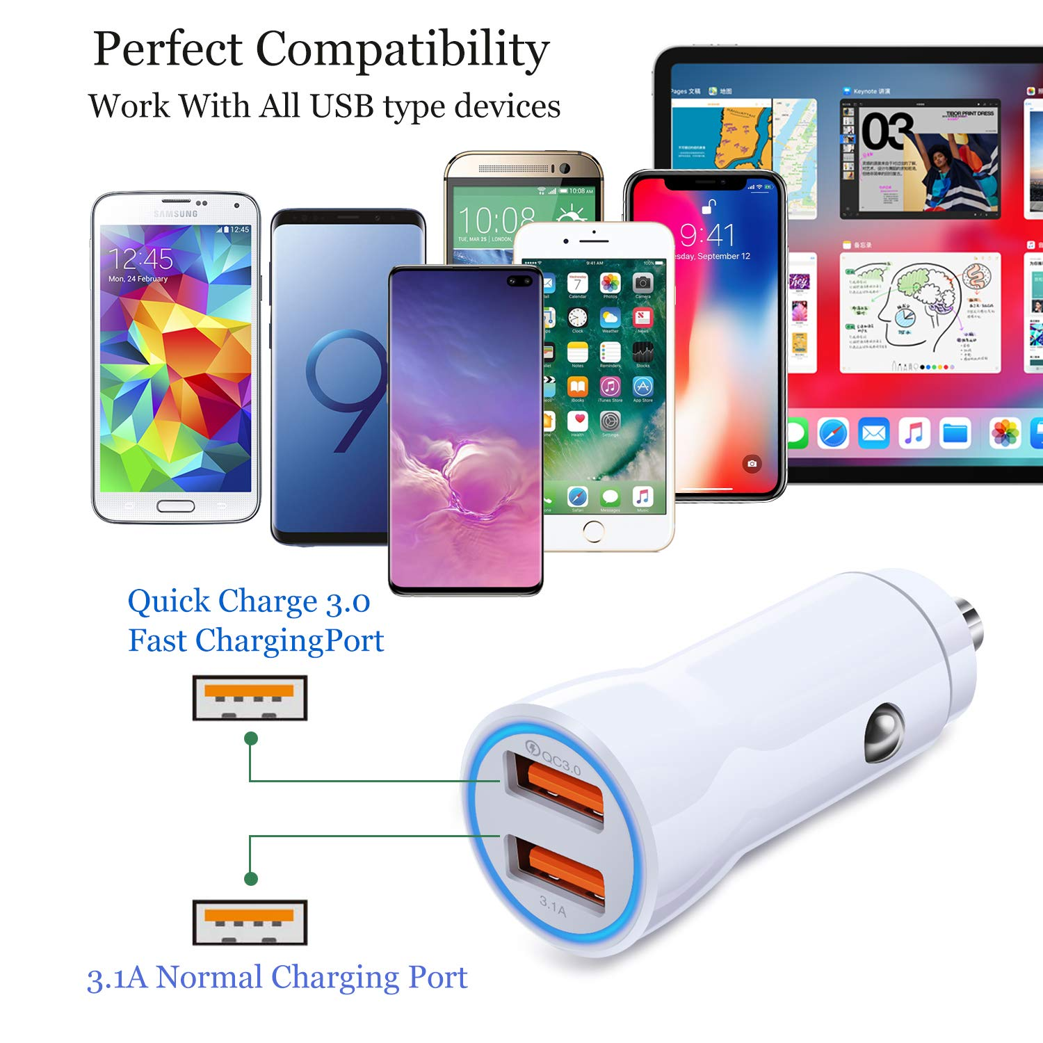 Fast Car Charger, OKRAY 2 Pack 30W Fast Charging Dual USB Port Car Phone Charger Adapter Compatible for iPhone X/Xs/XR/Xs Max/8/7Plus, Galaxy ...