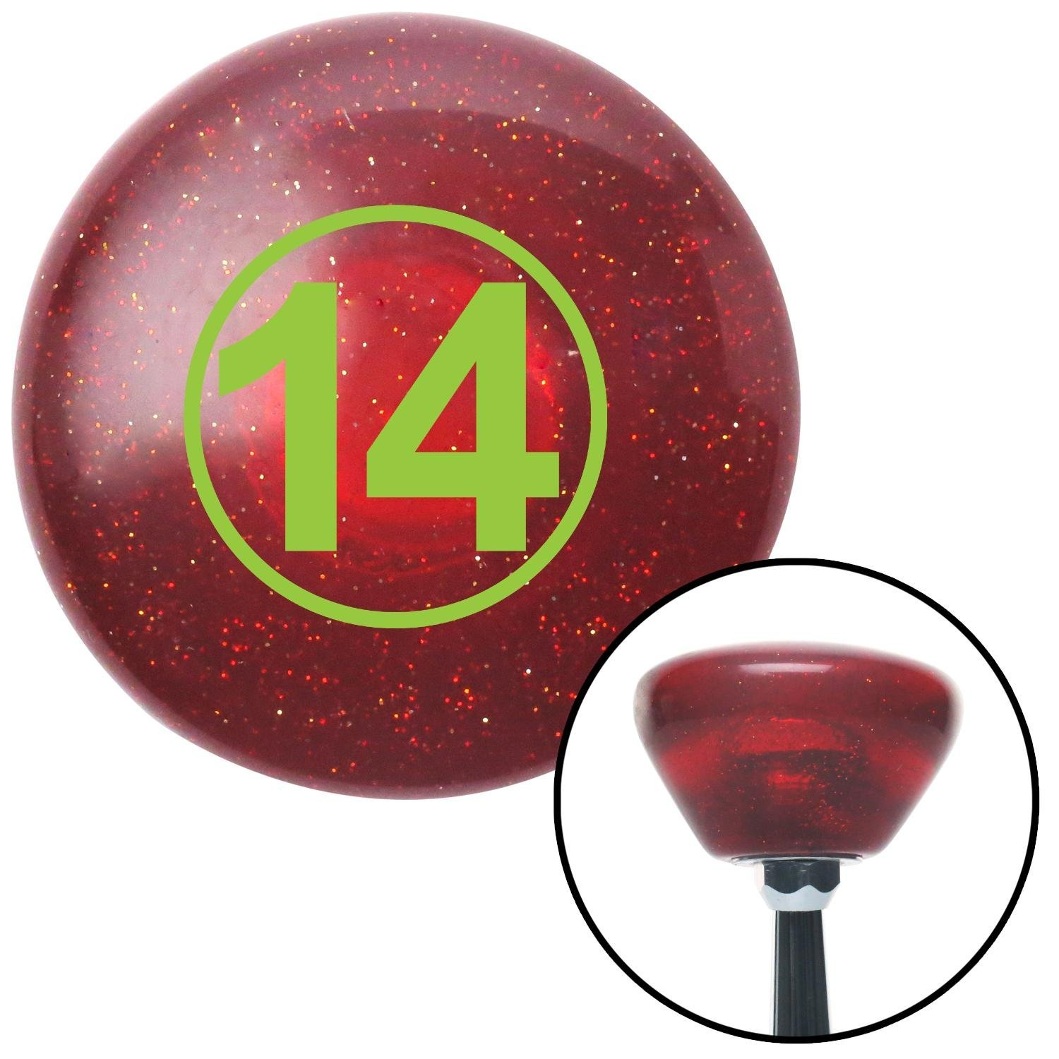 American Shifter 193614 Red Retro Metal Flake Shift Knob with M16 x 1.5 Insert Green Ball #14