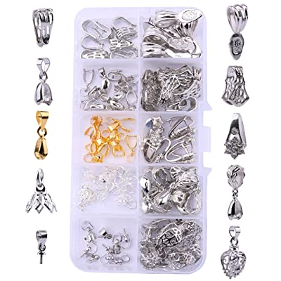 OBSEDE 120Pcs Glue on Bails for Pendants Jewelry Making Necklace Earring Bail
