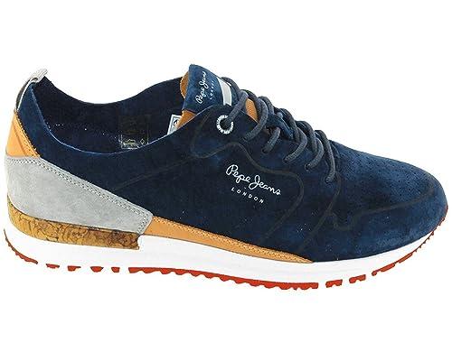 Pepe Jeans London PMS30411 Azul Zapatillas Hombre Chaussure Casual Deportes - Azul, 44 EU