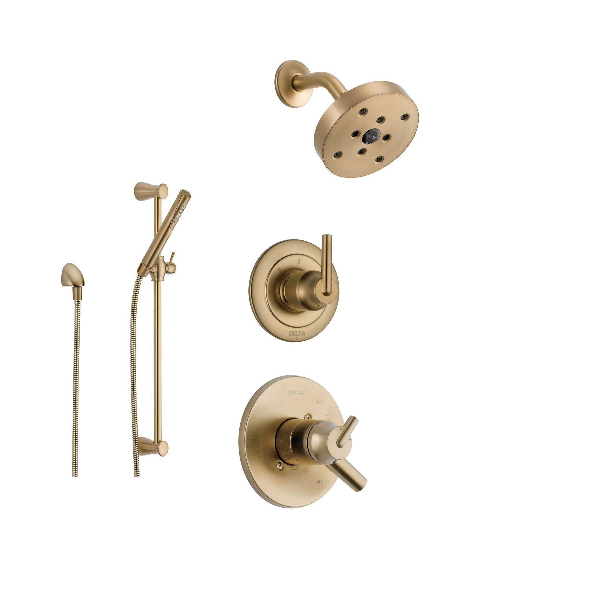 Delta Trinsic Champagne Bronze Shower System with Dual Control Shower Handle, 3-setting Diverter, Modern Round Showerhead, and Handheld Shower SS175981CZ by DELTA FAUCET