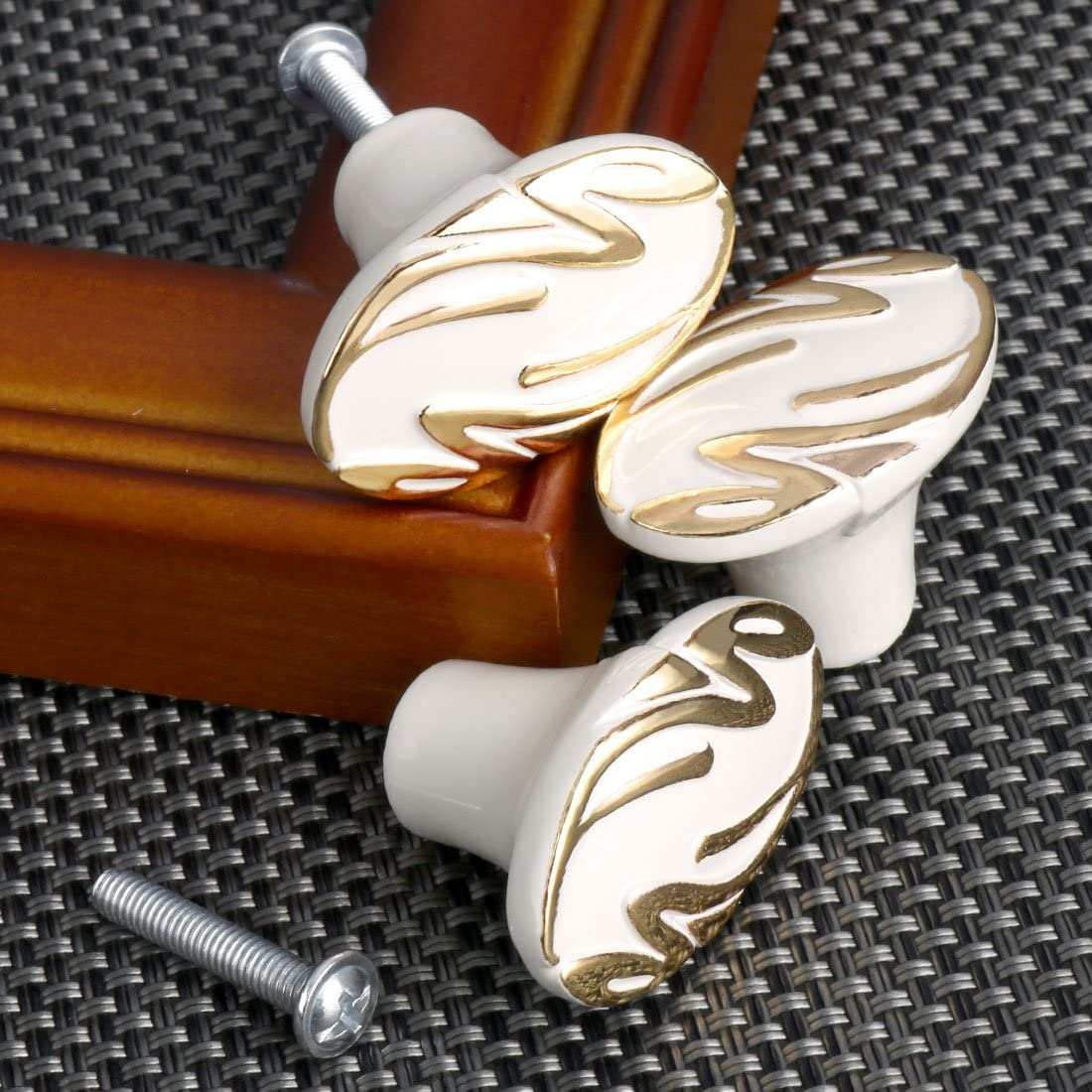 uxcell Single Modern Simple Gold Tone Style Metal Knob Handle Furniture Door Cabinet Hardware Wardrobe Drawer Pull Handles Round Knobs #13 White with Gold Lines