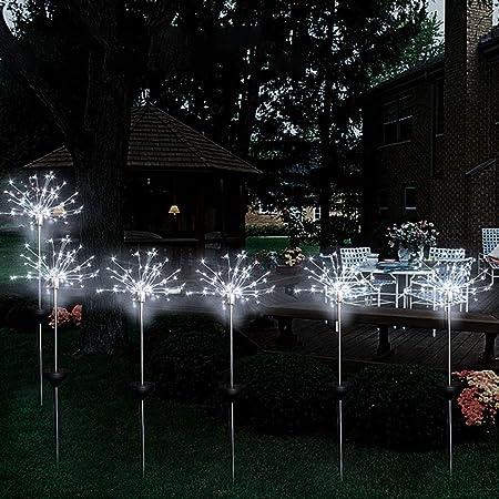 Ysoom - 2 lámparas solares para jardín, 120 ledes, 8 Modos, para Exterior, luz Resistente a la Intemperie, iluminación Decorativa para jardín, balcón y terraza: Amazon.es: Hogar