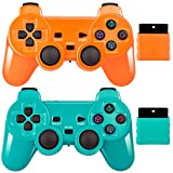 Wireless Controller 2.4G Compatible with Sony Playstation 2 PS2 (Orange+Green) (Color: Orange+Green)