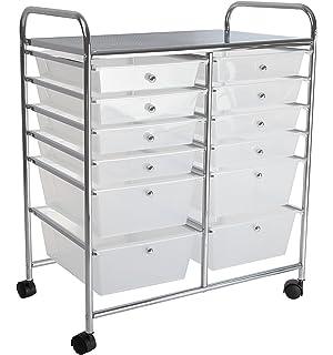 Aspect 12 Drawer Rolling Cart Steel Plastic White 63 X 39