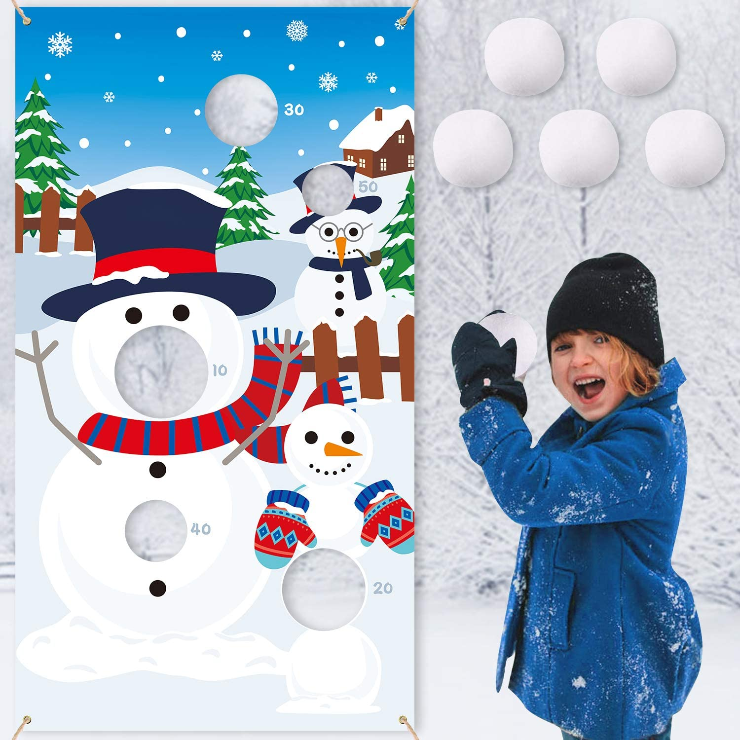 CiyvoLyeen Snowman Toss Games Banner, Winter Christmas Holiday Party Cornhole Game with 5 Snowballs for Kids Adults Family Gathering Indoor Outdoor Frozen Party Supplies 71vE6gBpv1L