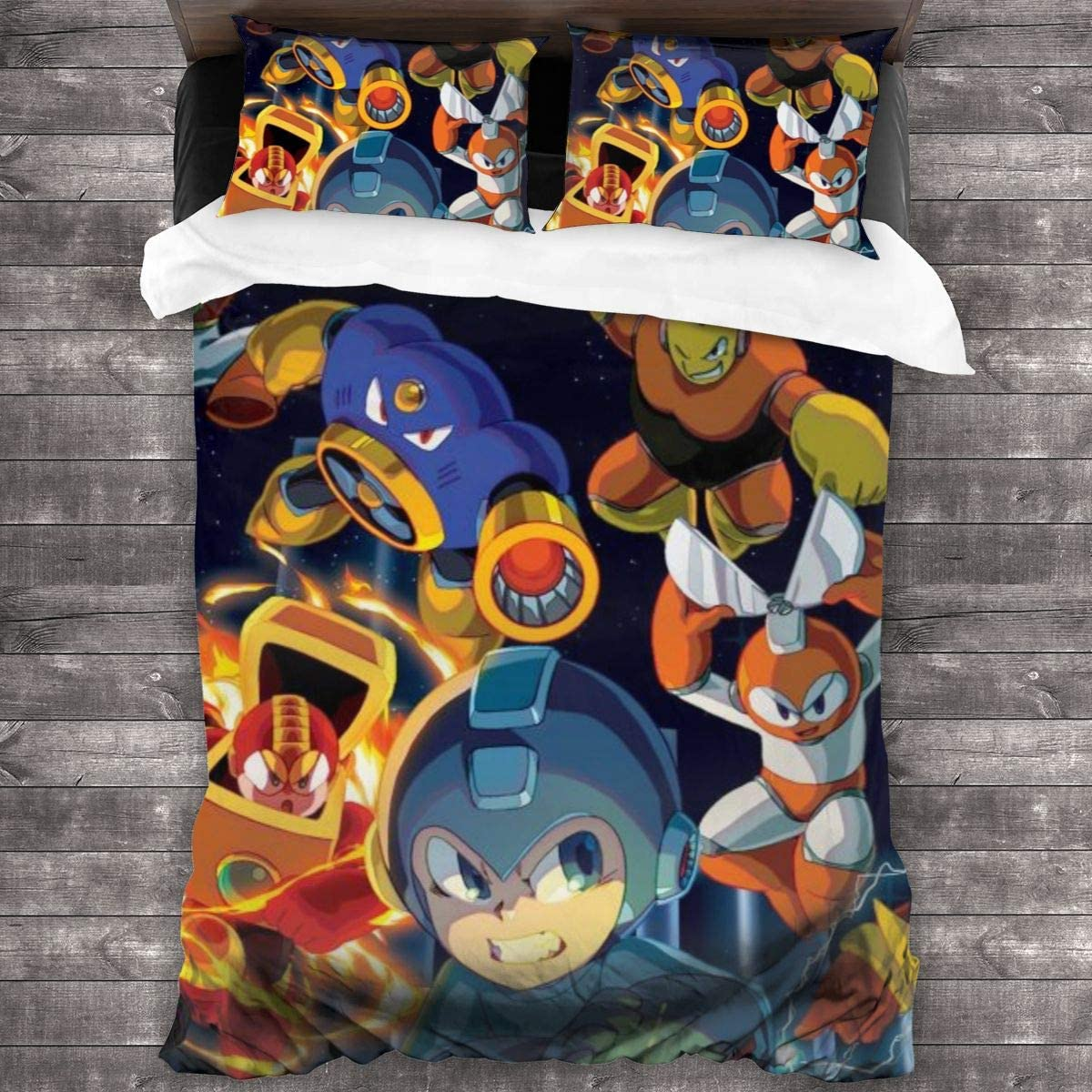 GUOZX Colorful Mega Man 3 Piece Bedding Sets, with 1 Quilt Cover+2 Pillow Shams, Twin Size - 86¡±x70