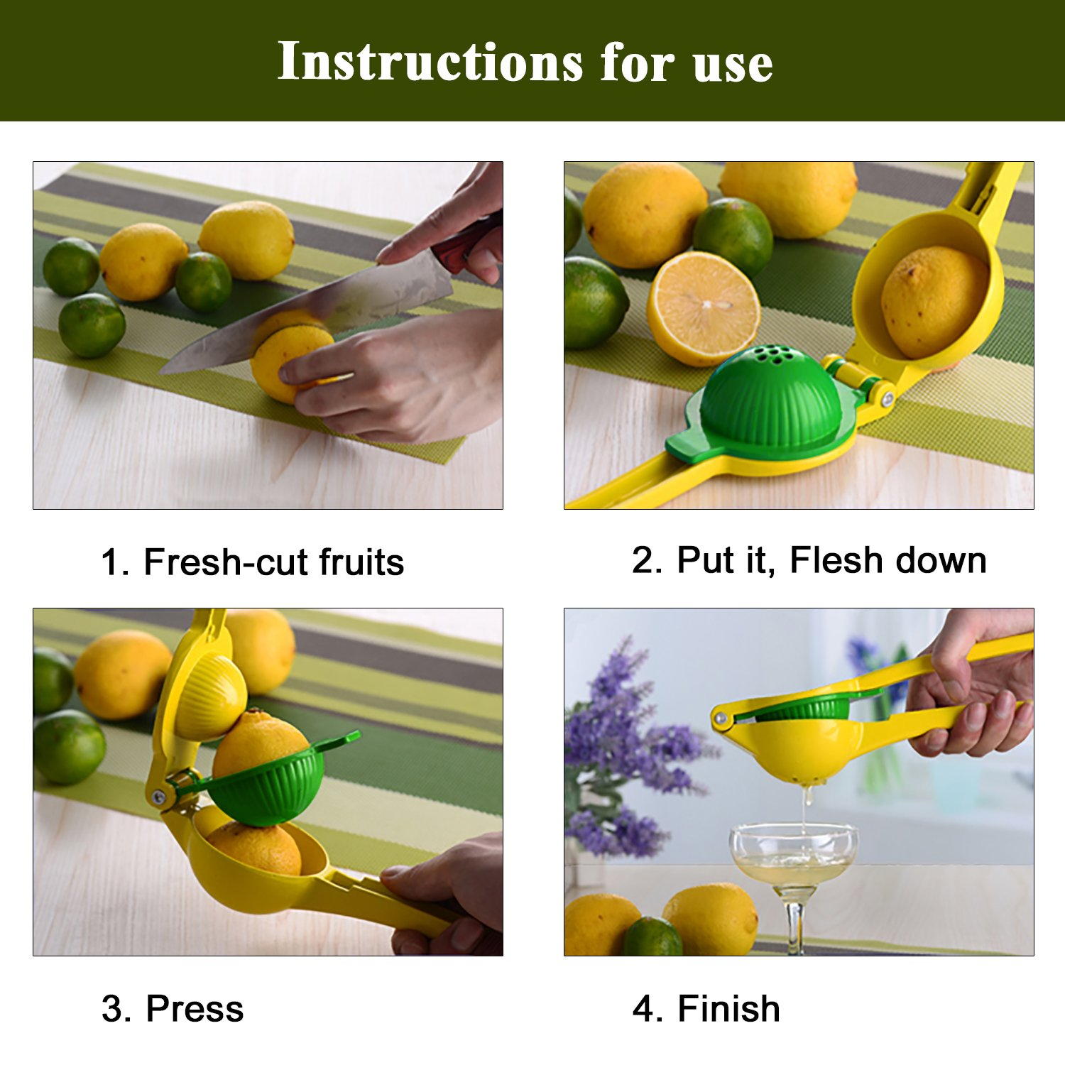 Lemon Lime Squeezer, Premium Quality Metal Kitchen Manual Citrus Press Juicer