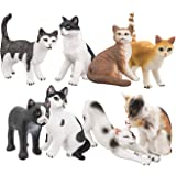 TOYMANY 8つの可愛い猫のフィギュア 異なる姿勢で、生き生きとした動物の模型セット 子供用のおもちゃ 誕生日のプレゼント
