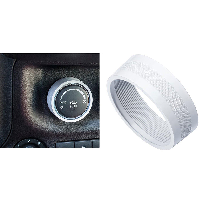 E-cowlboy Interior Audio Air Conditioning Button Cover Decoration Twist Switch Ring Trim for Jeep Wrangler JK JKU Compass Patriot 2011 2012 2013 2014 2015 2016 3PC//SET White