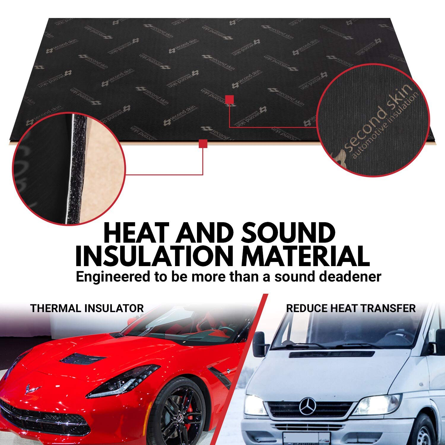 Made in the USA Butyl Rubber Car Sound Deadener Second Skin Audio Damplifier Premium Automotive Sound Deadening Mat 40 Sq Ft 40 Sq Ft