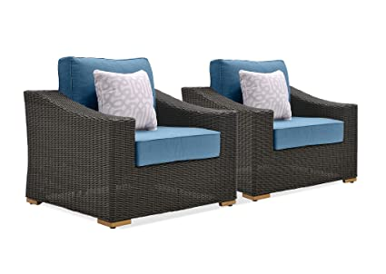 Admirable La Z Boy Outdoor New Boston Resin Wicker Patio Furniture Lounge Chairs 2 Pack Denim Blue With All Weather Sunbrella Cushions Pdpeps Interior Chair Design Pdpepsorg
