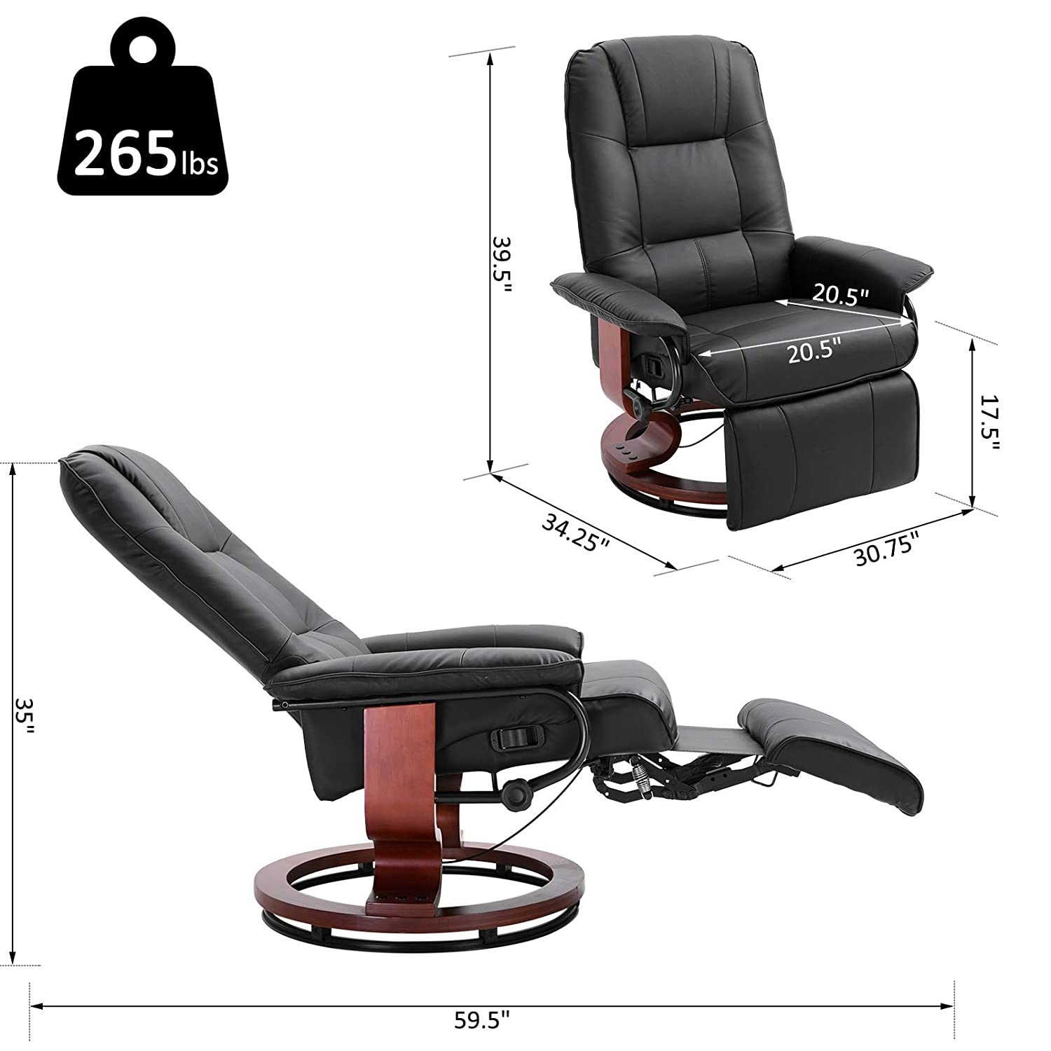 Amazon.com: Silla reclinable de piel sintética ajustable con ...