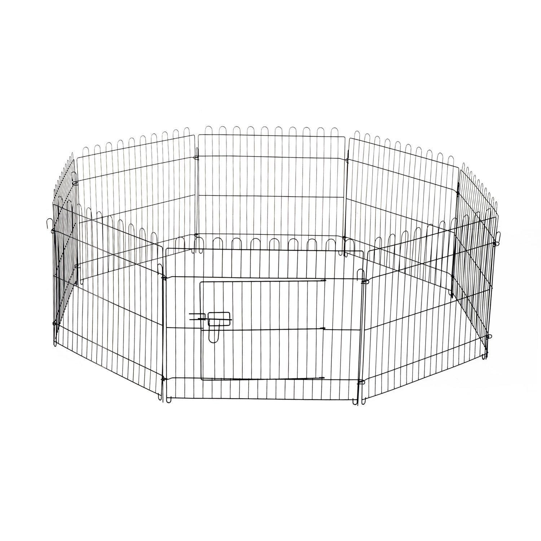 PawHut D06-028 Welpenauslauf / zaun Laufstall Freilaufgehege Hunde Achteckig, schwarz