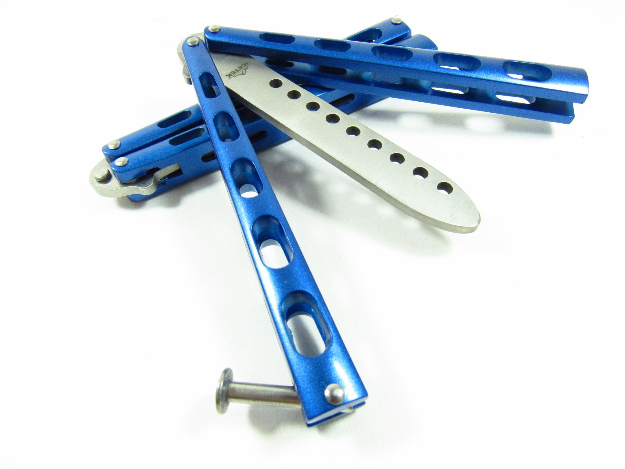 Icetek Sports 44477 Metal Practice Balisong Butterfly Knife Trainer Blue 6
