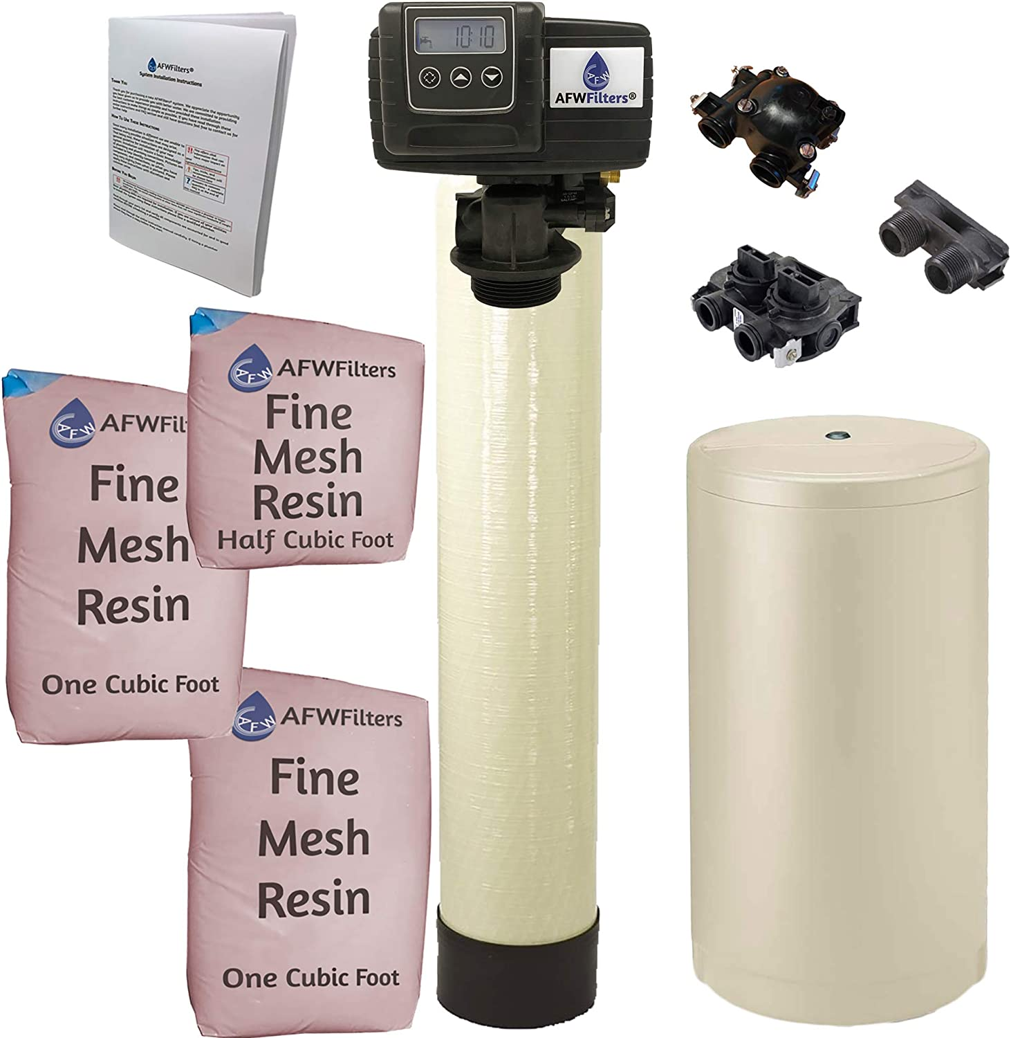 AFWFilters IRONPRO2 Pro 2 Combination Water Softener Iron Filter Fleck 5600SXT Digital metered Valve for Whole House 80,000 Grains, Almond
