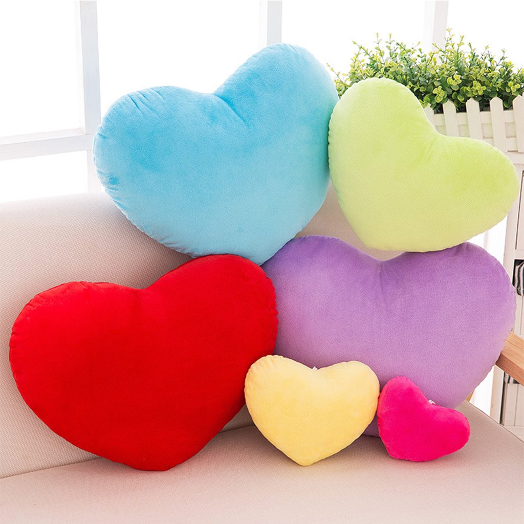 Lamdoo 40cm Heart Shape Decorative Throw Pillow PP Cotton Soft Creative Doll Lover Gift Blue