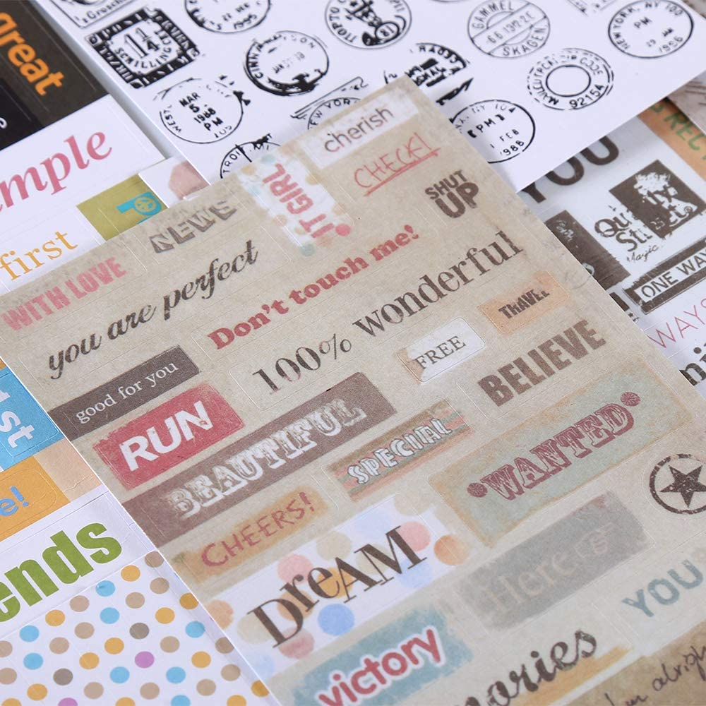 YPSelected 6 Sheets Vintage Message Sticker Craft Stamp Paper Stickers Deco Gift
