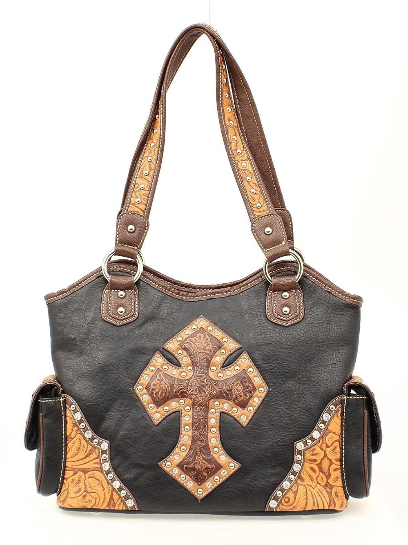 Blazin Roxx Women's Tooled Cross Overlay Shoulder Bag