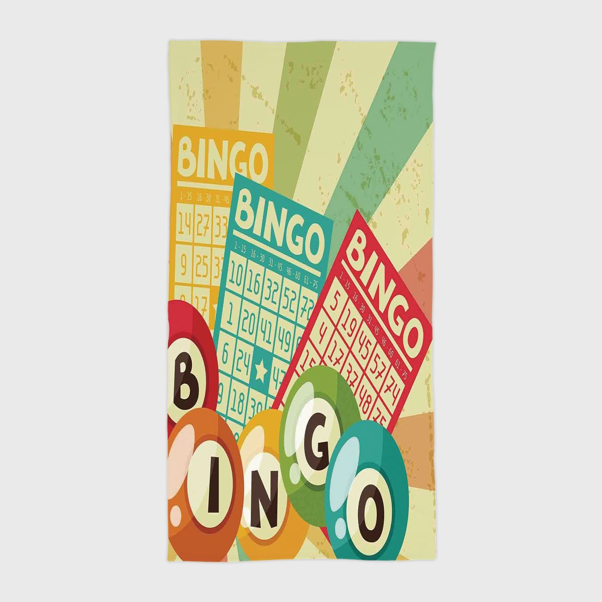One Side Printing Hotel SPA Beach Pool Bath Hand Towel,Vintage Decor Bingo Game with Ball and Cards Pop Art Stylized Lottery Hobby Celebration Theme Multi,for Kids Teens and Adults by iPrint