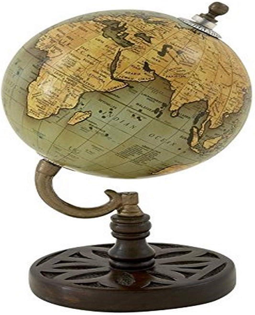"Deco 79 Wood Metal PVC Globe 5"" W, 9"" H-94436, 5"" x 9"""