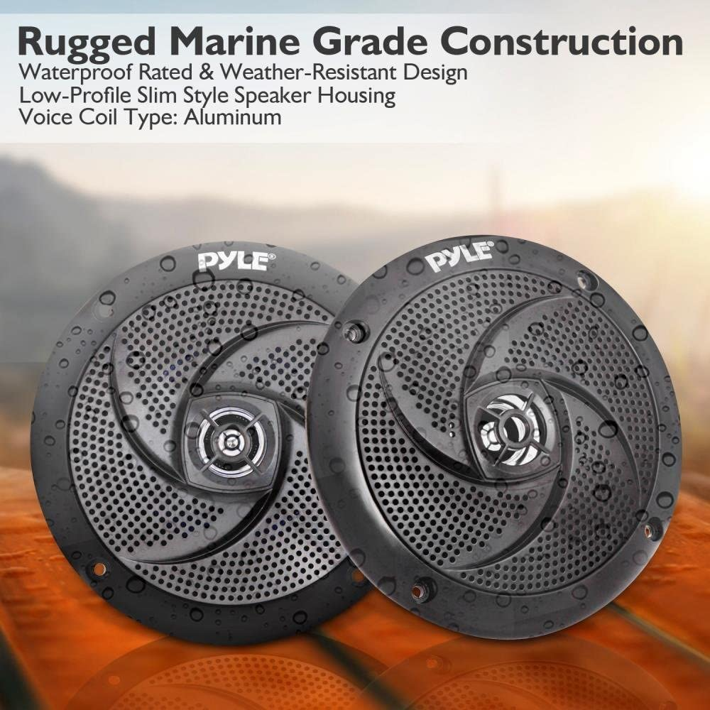 Pyle Marine Speakers - 5.25 Inch 2 Way Waterproof and Weather Resistant Outdoor Audio Stereo Sound System with LED Lights, 180 Watt Power and Low Profile Slim Style - 1 Pair - PLMRS53BL (Black)