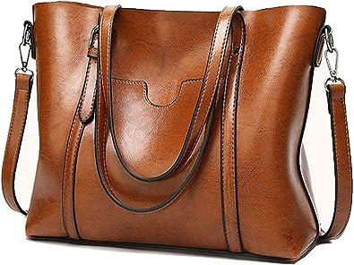 UK Women Large Leather Handbag Shoulder  Messenger Satchel Tote Crossbody