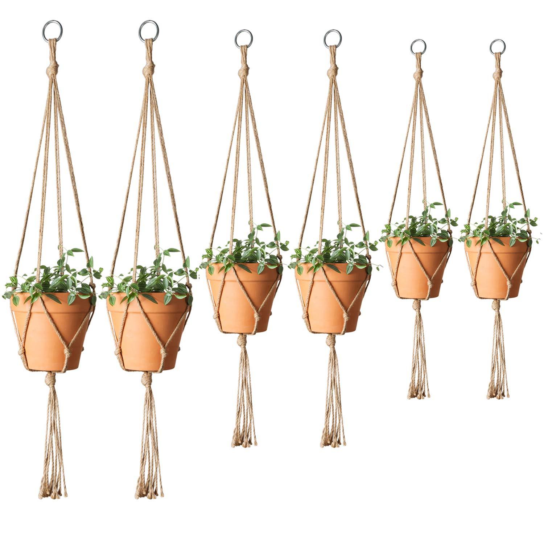Mkono Plant Hanger Indoor Outdoor Hanging Planter Basket Jute Rope Flower Pot Holder Boho Home Decor