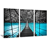 Hardy Gallery Suspension Bridge Picture Wall Art: Blue Lake Artwork Painting Print on Canvas for Living Room Office (26…