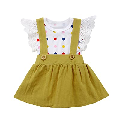 Alione Baby Girls White Ruffle Romper Jumpsuit Suspenders Set Strap Skirt Tutu Dress Overall Outfit