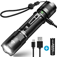 BYBLIGHT Rechargeable LED Torch, Super Bright 800 Lumens Small CREE LED Flashlight, Built-in 18650 Battery, 5 Modes, IP67 Waterproof Powerful Torch for Camping, Dog Walking, Outdoor Activitie