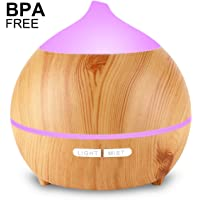 Essential Oil Diffuser, Mulcolor 250ml Aromatherapy Diffuser for Essential Oils, Aroma Oil Diffuser Humidifier, Ultrasonic Diffuser Wood Grain, Waterless Auto Shut off, 7 Colors Light