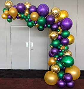 PartyWoo Purple Green Gold Balloons 50 pcs 12 Inch Purple Balloons Gold Balloons Hunter Green Balloons and Gold Confetti Balloons for Carnival, Vintage Party, Little Mermaid Party, Aladdin Party